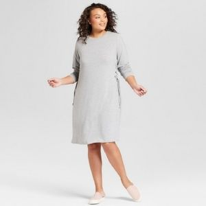 Ava Viv 4X 3X Dress Gray Knit Tie Lace Long Sleeve